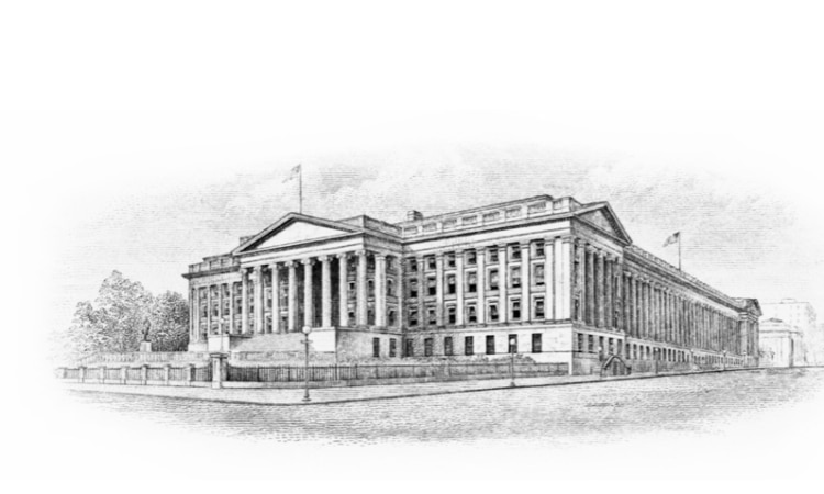 Black and white drawing of a large building